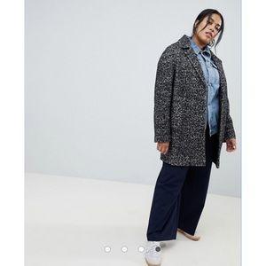 ASOS DESIGN Curve Cocoon Coat In Texture Size 14